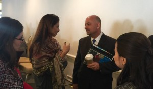Managing Attorney Anna Hysell chats with the San Diego ICE Field Office Director.